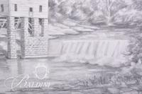 Graphite Drawing of Brown's Mill in Rutherford County by Clarice Nelson, Signed Lower Left