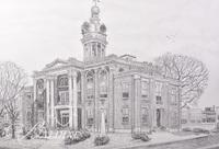 Graphite Drawing of Rutherford County Courthouse, Unsigned