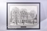 Graphite Drawing of James K. Polk Hotel in Rutherford County by Polly Maxwell, Signed Lower Left