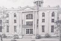 Graphite Drawing of Rutherford County Courthouse by Clarice Nelson, Signed Lower Right
