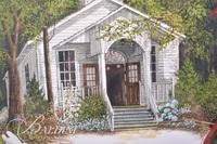 Van H. Treat Original Dry Brush Watercolor of Dollywood Church