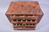 Burl Wood Jewelry Box with Four Drawers - Includes Key