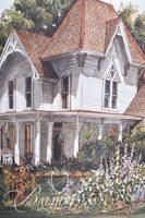 Van H. Treat Original Dry Brush Watercolor Victorian House in a Field of Flowers