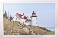 Van H. Treat Original Dry Brush Watercolor Lighthouse