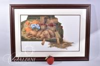 """Van H. Treat Original Dry Brush Watercolor """"Beaulah"""" Personally Commissioned by Ron Henry, Signed"""