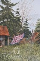Van H. Treat Original Dry Brush Watercolor Old Farmhouse with Quilt Hanging on Clothesline