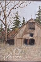 Van H. Treat Original Dry Brush Watercolor of Old Barn, Signed