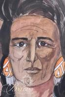 Anna Ray Original Watercolor Depicts Native American Indian, Signed Lower Right