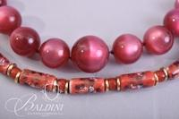 Moonstone Fuchsia Necklace and Cloisonne Hand Painted Necklace