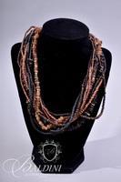 Beaded Gemstone Earthtone Necklace and White Beaded Earrings