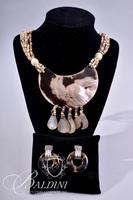 """Shell Necklace and Leopard Print Earrings Marked """"RL"""""""