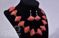 Cinnabar Necklace and Earrings and Small Covered Box