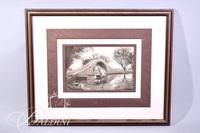 """Framed Lithograph """"Bridge of the Curved Back-Summer Palace"""""""
