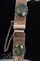 Serpentine Stones on Gold Tone Bracelet with Safety Chain