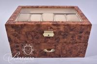 Burl Wood Watch Case Holds 20 Watches Includes Key
