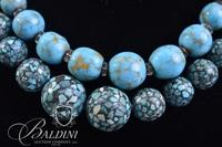(2) Turquoise Mosaic Necklaces - One Stamped Sterling