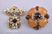 (2) Costume Brooches with Gemstones and Pearls
