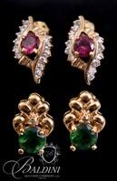 (2) Pair Earrings with Green Stones, Fuchsia and Clear Stones
