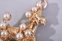 Vintage 14Kt Yellow Gold French Poodle with Diamonds and 3/4 Pearls  - Nice Lustre