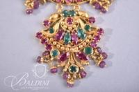 Turkish 21Kt Gold Necklace with Synthetic Stones 19.1 grams - Repaired and 22Kt Earrings with Synthetic Stones