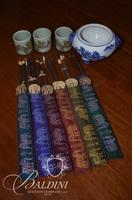 Set of (6) Chopsticks in Individual Cases, Open Pot and (3) Sake Cups