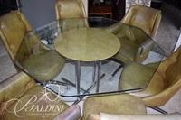 Vintage Glass Top Table with (6) Chairs