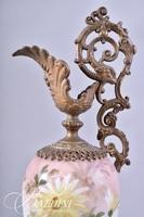 Hand Painted Ewer with Serpent Handle and Brass Figural Accents