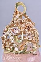 Jay Strongwater Covered Vase with Swarovski Jeweled Accents and Enameled Top