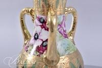 3-Handled Nippon Hand Painted Moriage Design Vase with Floral Design