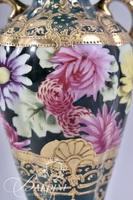 Unmarked Nippon Hand Painted Vase with Floral and Moriage Design