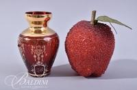 """""""Venezia"""" Hand Painted Cranberry Glass with Gold Trimmed Accent Small Bud Vase"""
