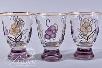 (6) Hand Painted and Enameled Cordial Glasses