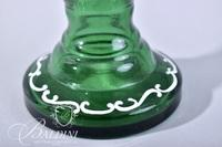 Mary Gregory Hand Painted Green Vase with Fluted Edge