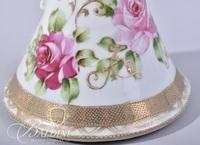 Hand Painted Nippon Pitcher with Floral and Moriage Design