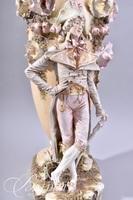 Large Capodimonte Elaborate Porcelain Formed Standing Male Figure Against Dimensional Floral Decor