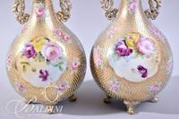 Pair of Hand Painted Nippon Moriage Vase with Dotted Pattern - Marked