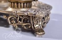 Solid Brass Ornate Double Inkwell with Figural Designs