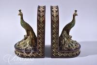 Pair Resin Painted Peacock Bookends