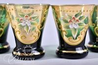 Bohemian Hand Painted Enameled Emerald Green Decanter Set