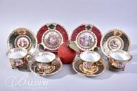 (5) Royal Vienna Beehive Mark Cups (6) Saucers with Green Border and (2) Dessert Plates with Red Border
