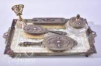 Jeweled Dressing Tray with Filagree and Lace Insert, Brush, Mirror, Grooming Brush, Powder Jar and Perfume Bottle