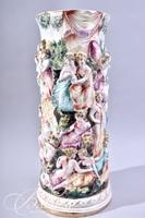 Capodimonte 1940's Tall Vase with Men and Women Gathered Close