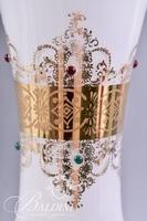 Jeweled Tall Art Glass Vase with Gold Overlay and Scalloped Edge
