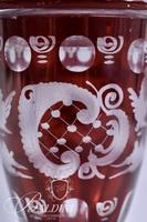 Set of Two Egerman Red Cut to Clear Etched Glass Covered Vessels