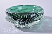 Green and Clear Art Glass Small Open Vessell