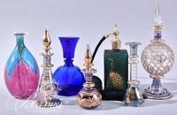 (5) Hand Blown Perfumes, (1) English Green Atomizer and Blue Cobalt Perfume