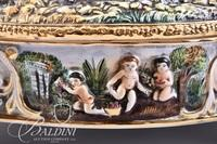 Capodimonte 4- Footed and Hand Painted Porcelain Hinged Box with Female Figures and Cherub Babies