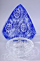 Blue Triangular Shaped Vessel and Clear Art Glass Bowl