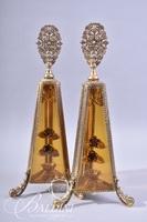 Pair Victorian Perfume Bottles with Ormolu Filigree