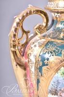 Pair Von Schierholz Plaue Austrian Porcelain Urns, Artist Signed on One Portrait, Marked on Underside
